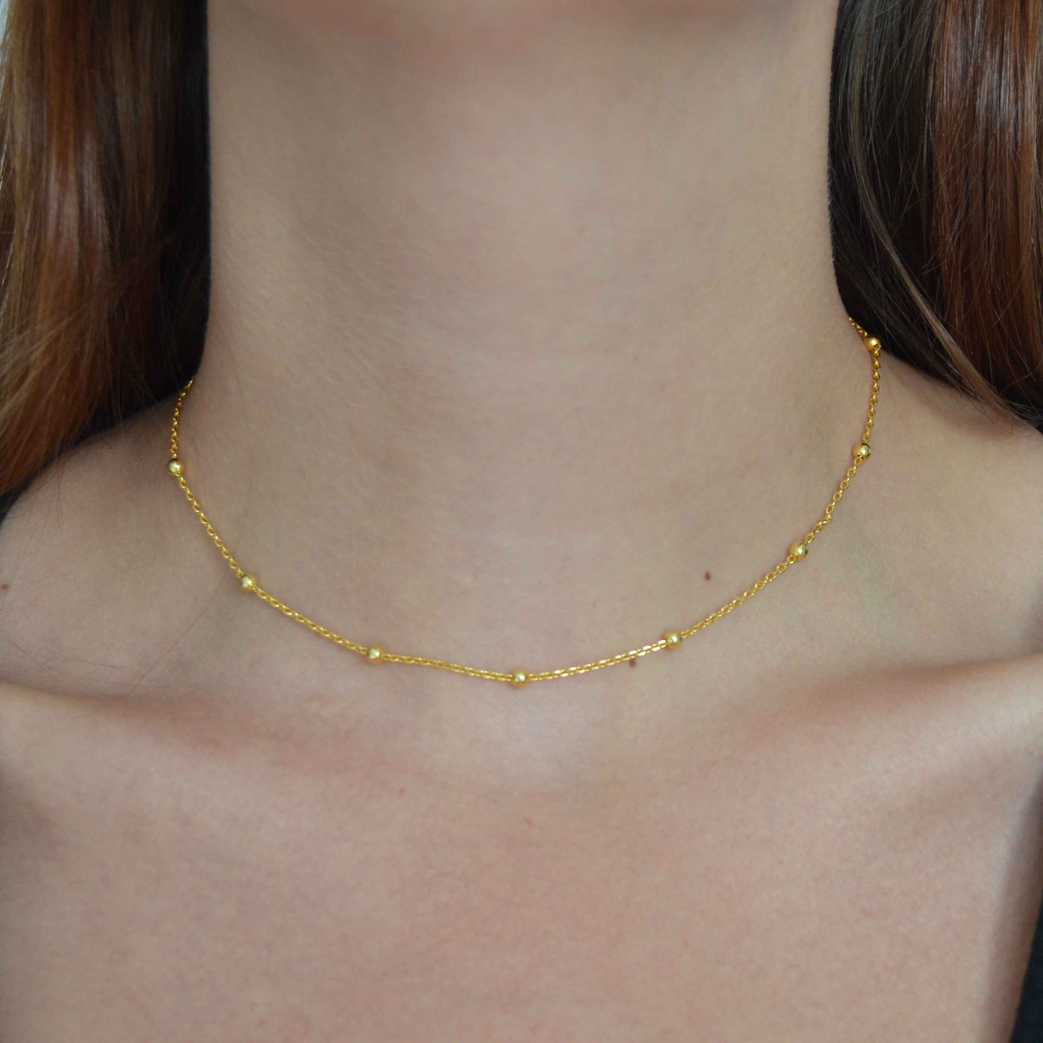 Basic Large Beaded Choker in Gold worn shot