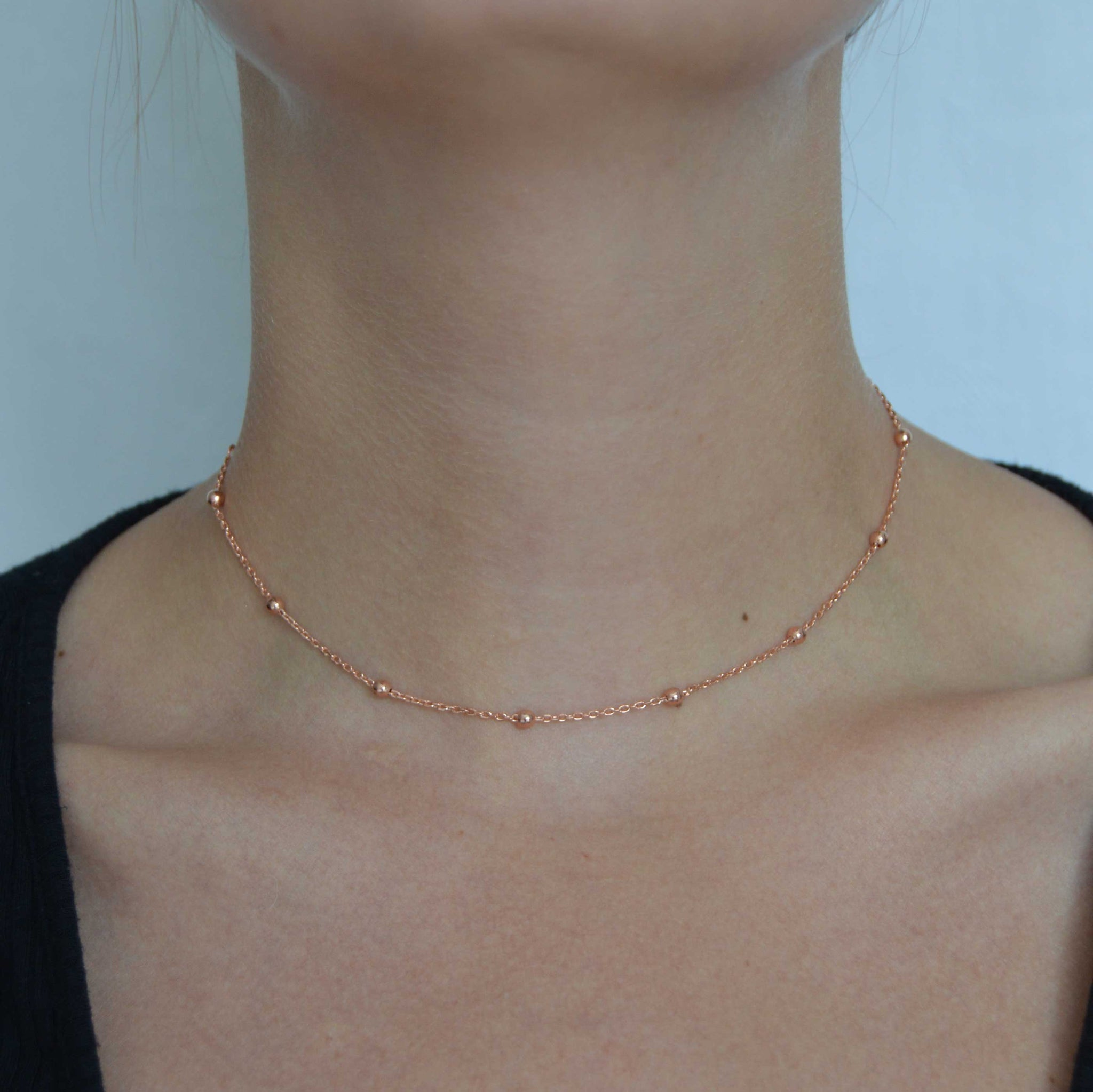 Basic Large Beaded Choker in Rose Gold worn shot