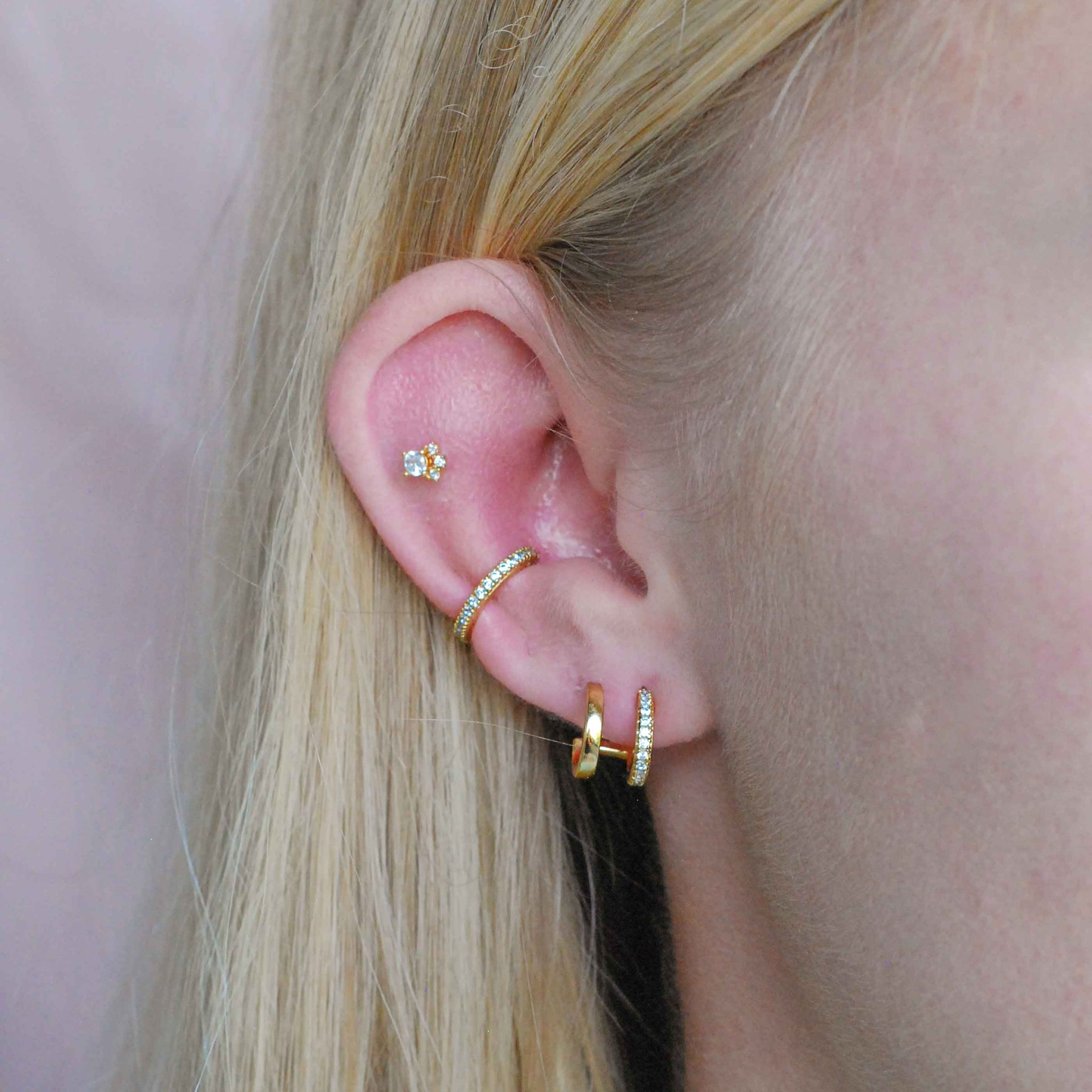 Crystal Ear Cuff in Gold worn with sparkling earrings