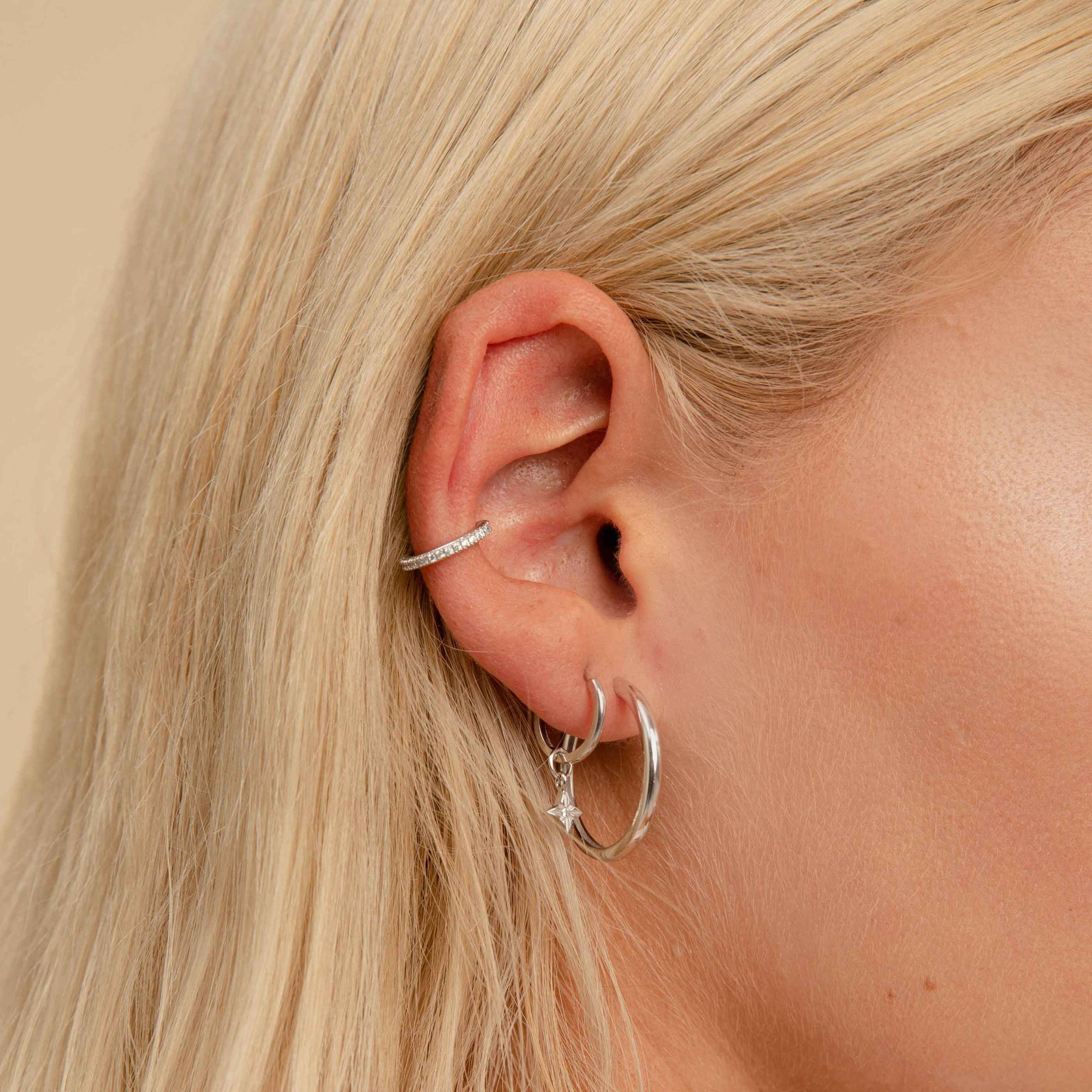 Simple Hinge Hoops in Silver worn shot