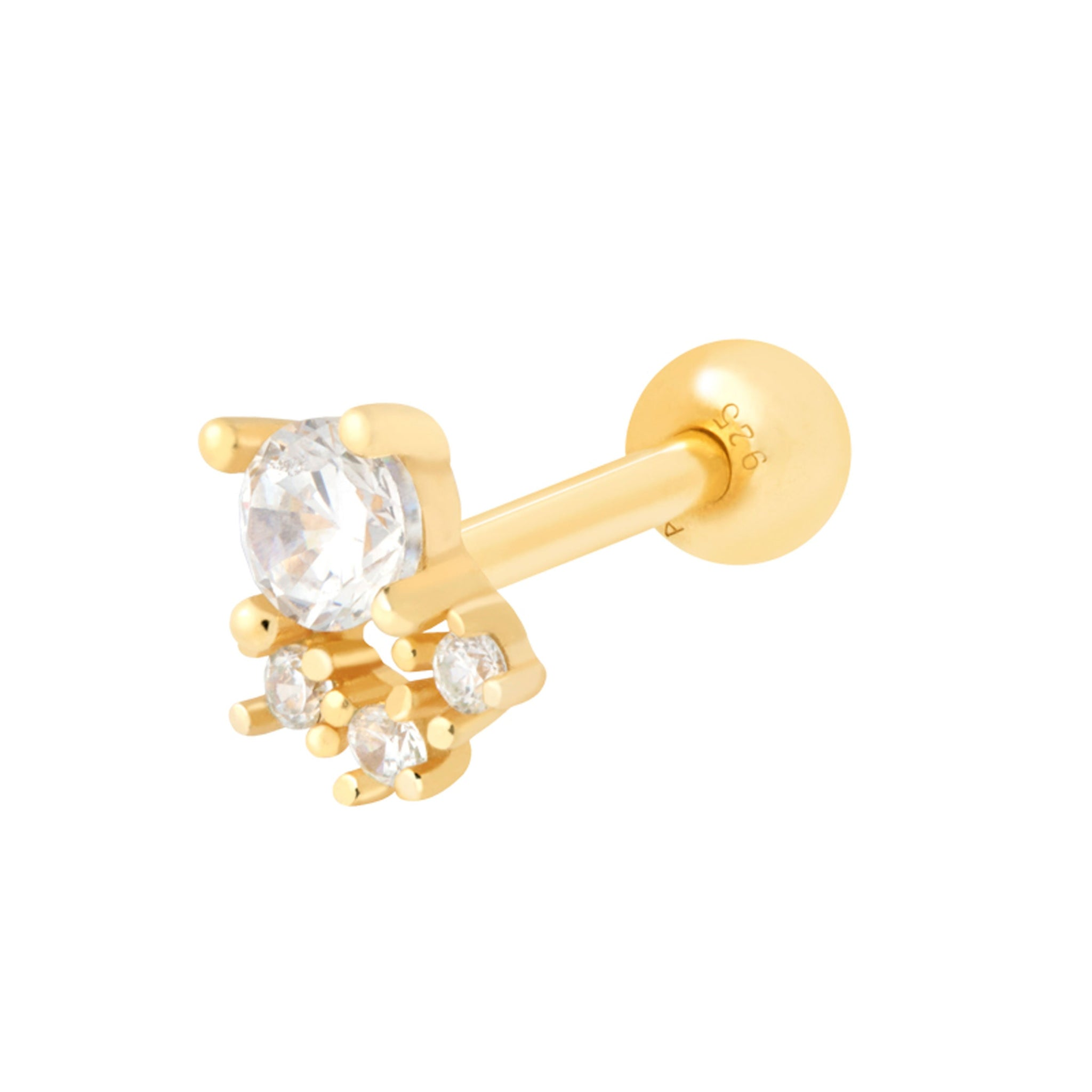 Crystal & Triple Stone Barbell in Gold