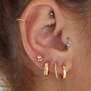 Crystal & Triple Stone Barbell in Gold  worn with huggies and hoops