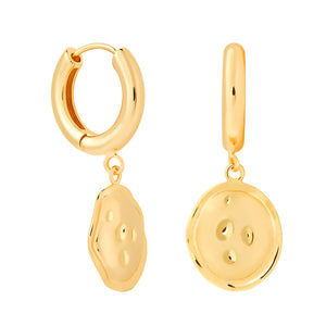 Coin Pendant Chunky Hoops in Gold