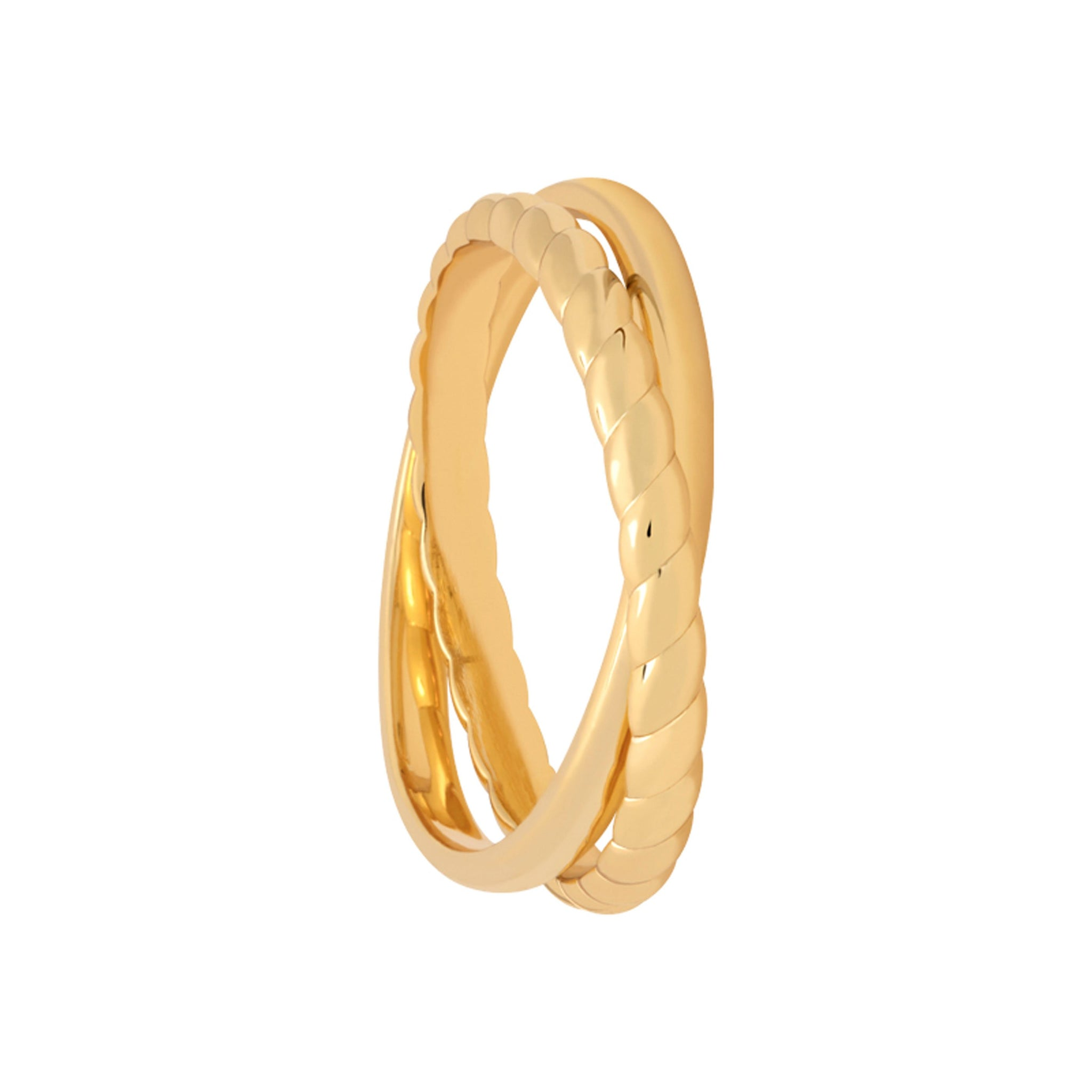 Interlocked Rope & Plain Band Ring in Gold