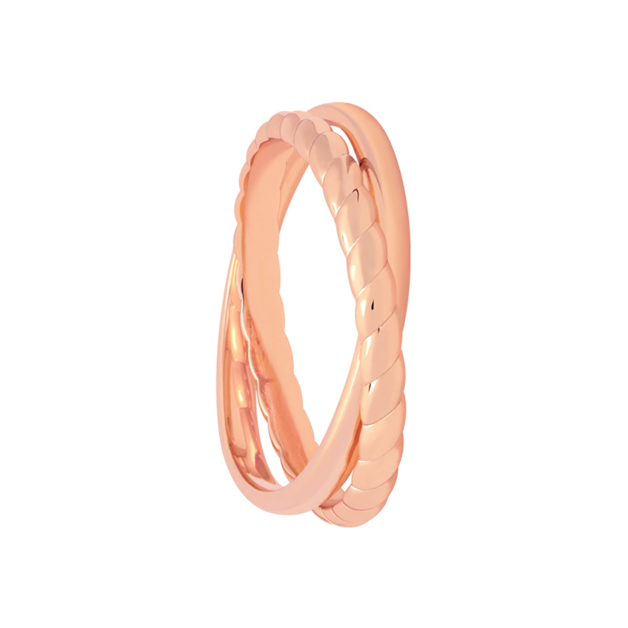 Interlocked Rope & Plain Band Ring in Rose Gold