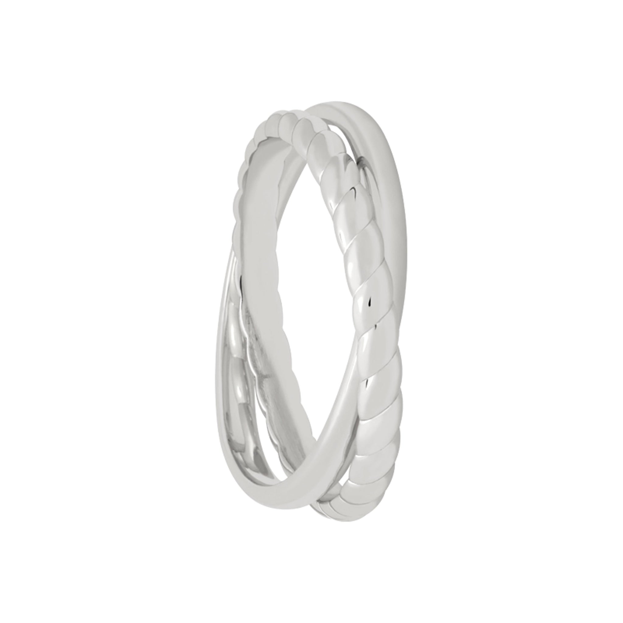Interlocked Rope & Plain Band Ring in Silver