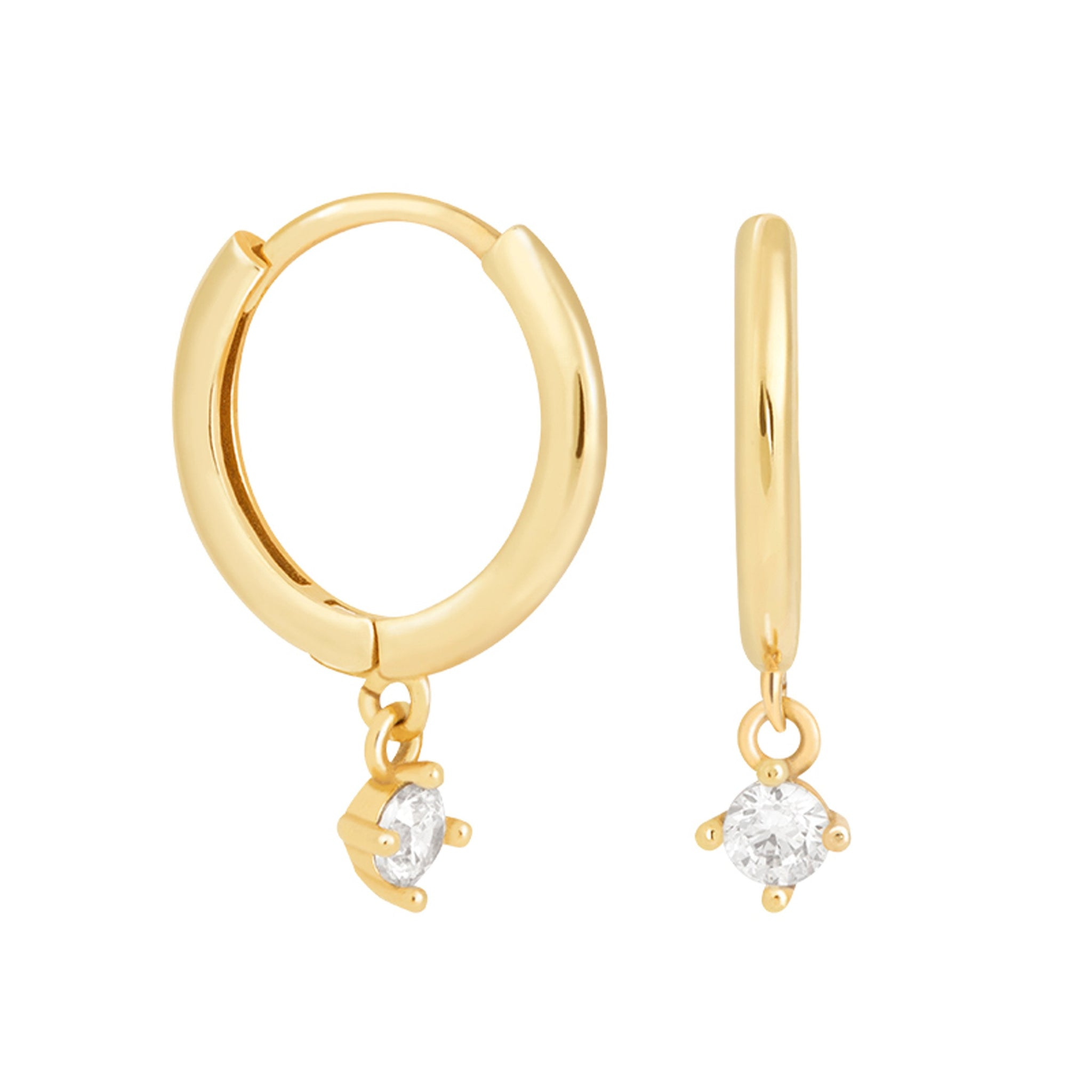 Mystic Drop Gem Hoops in Gold