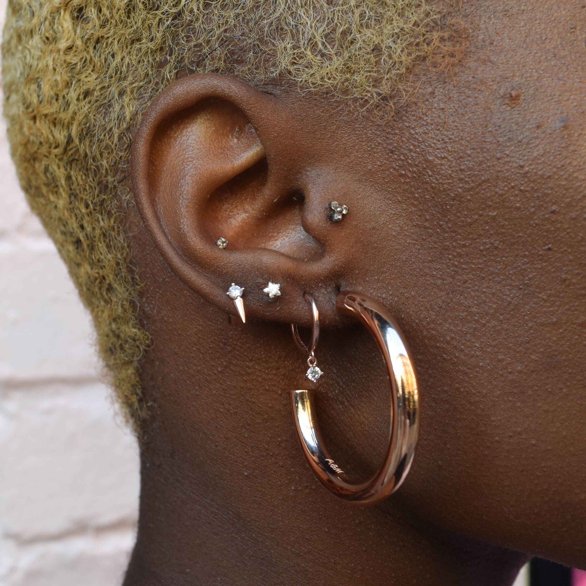 Mystic Drop Gem Hoops in Rose Gold worn shot
