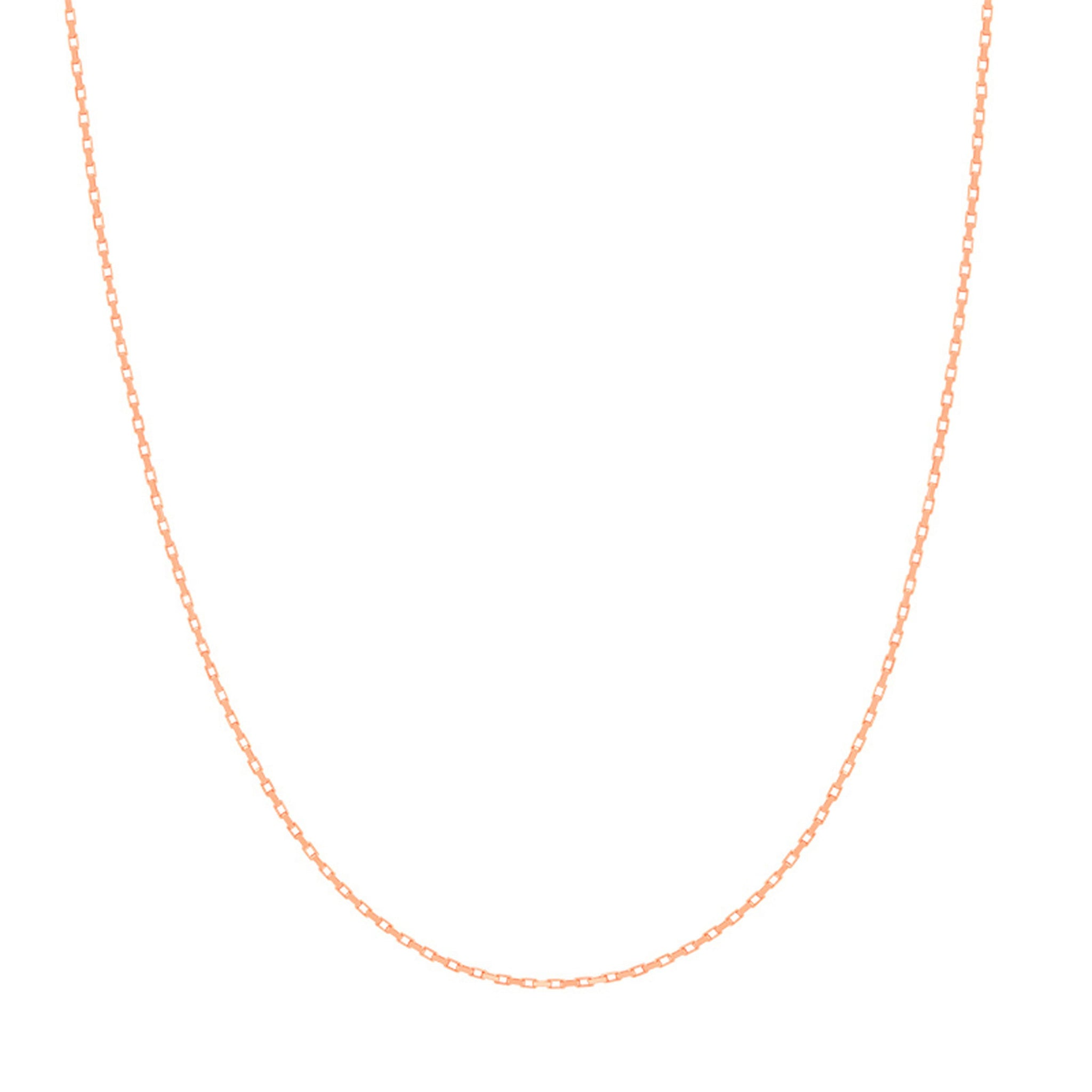 Rectangular Link Necklace Chain in Rose Gold