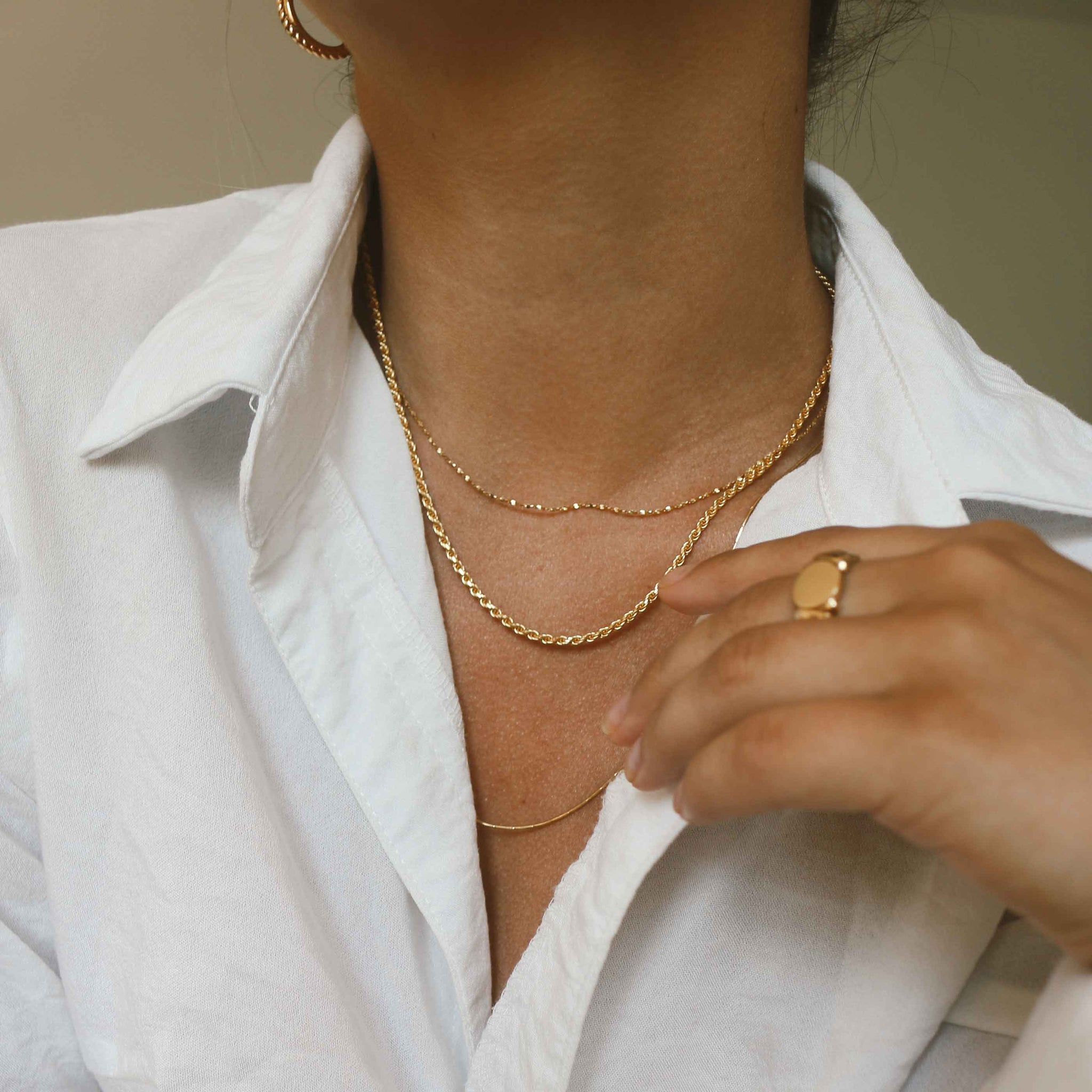 Rope Chain Necklace in Gold worn with gold dainty chain necklaces