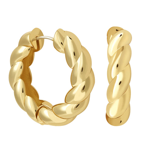 Chunky Rope Hoops in Gold