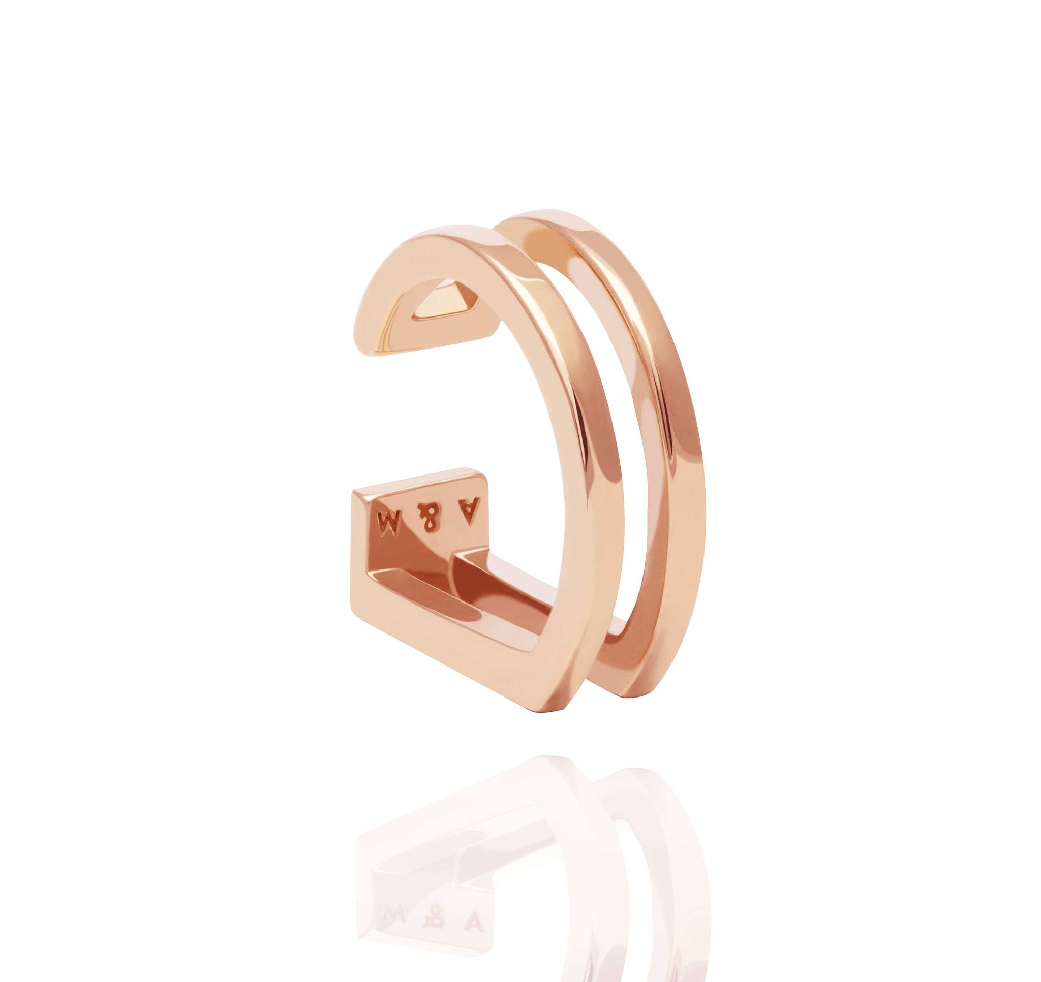 14k rose gold plated brass simple ear cuff with two curved bars  Edit alt text
