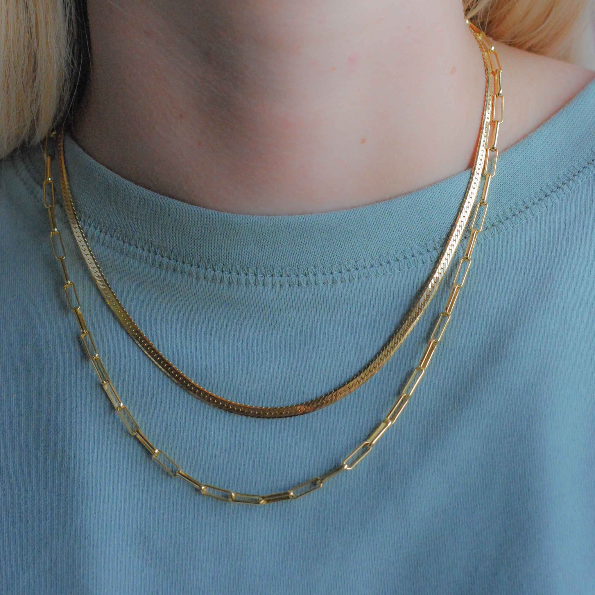 Snake Chain Necklace in Gold worn with long link chain necklace