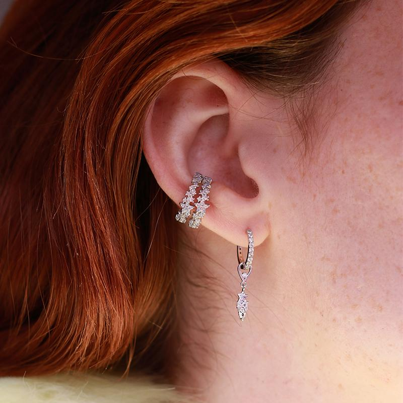 Dia Base Hoop in Silver with Star & Stones Earring Charm in Ear