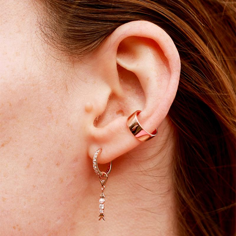 Dia Base Hoop and Arrow Charm in Ear Stack