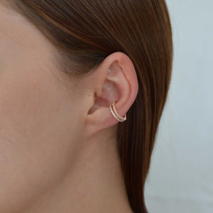 cubic zirconia encrusted, rose gold wishbone ear cuff