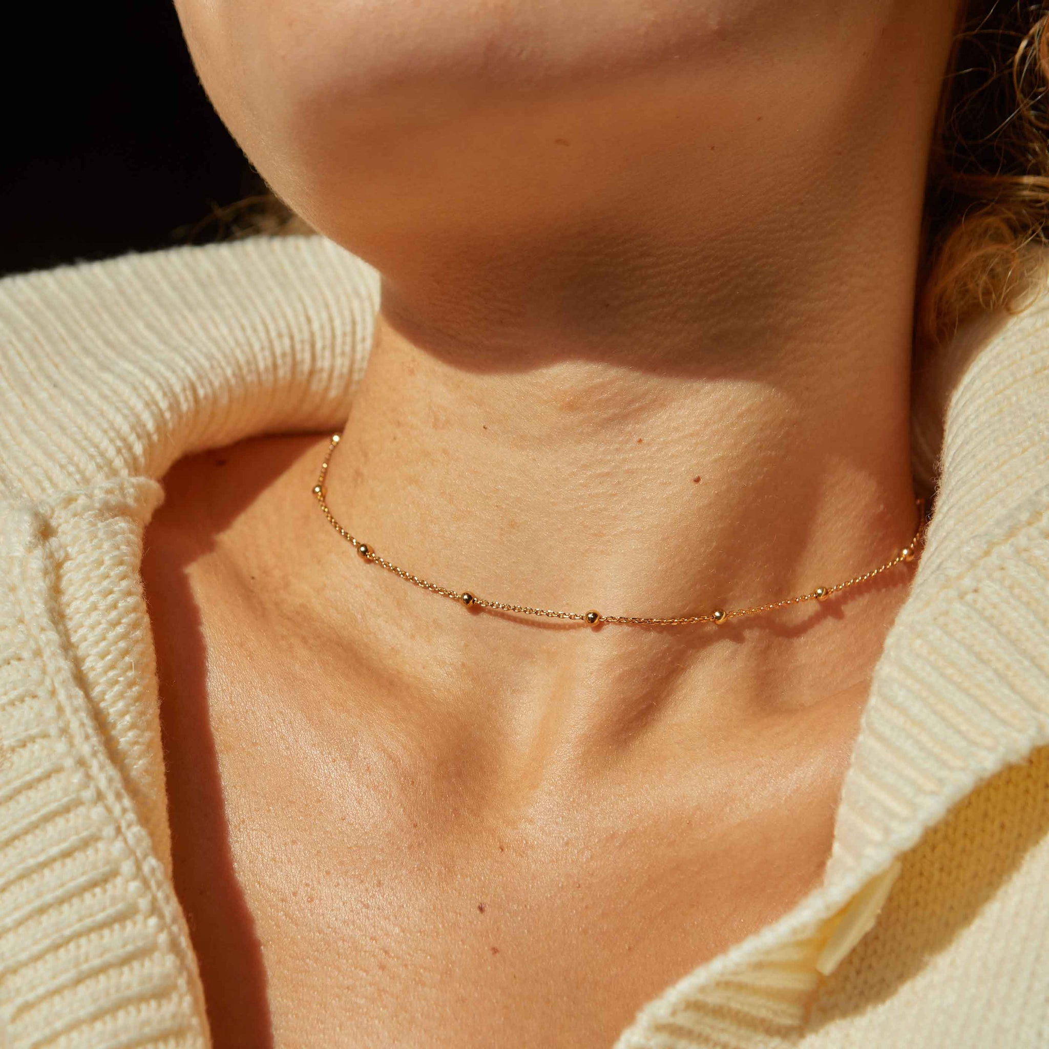 Basic Large Beaded Choker in Gold worn