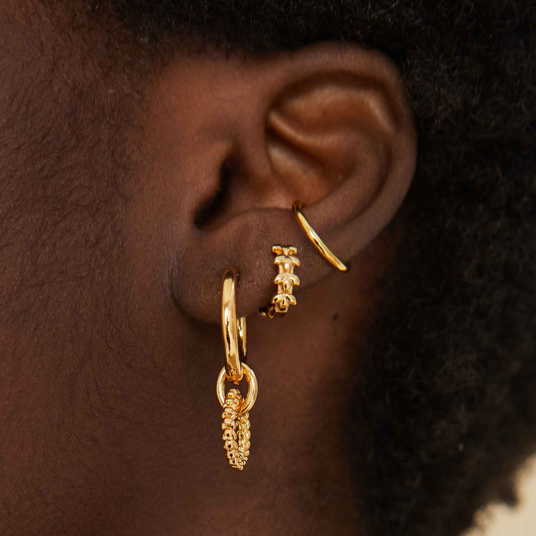 Basic Ear Cuff in Gold worn