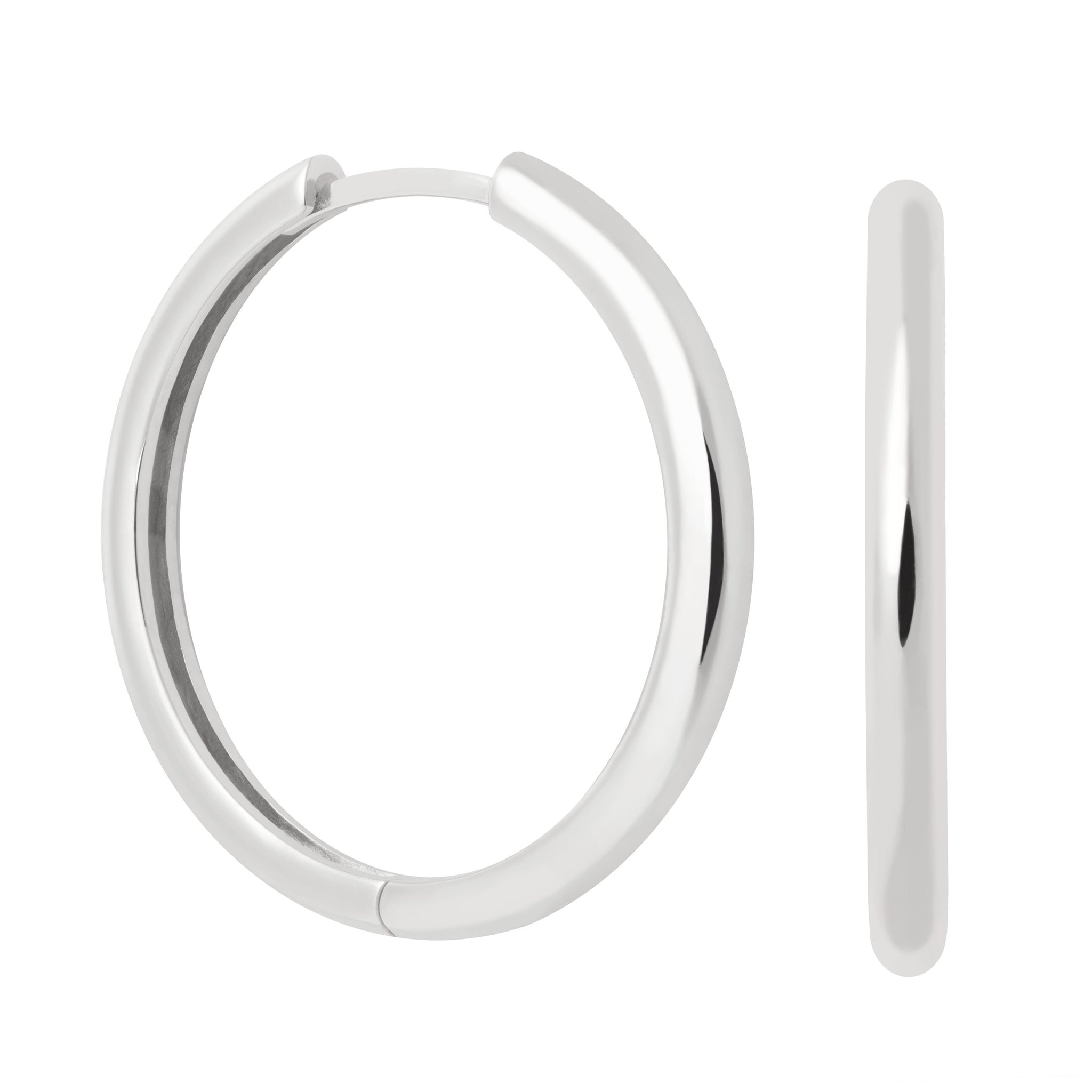 Simple Hinge Hoops in Silver