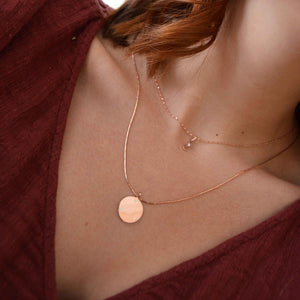 Coin & Stones Necklace Charm in Rose Gold