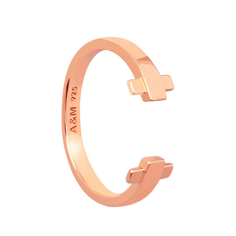Rose gold crossing lines locking ring
