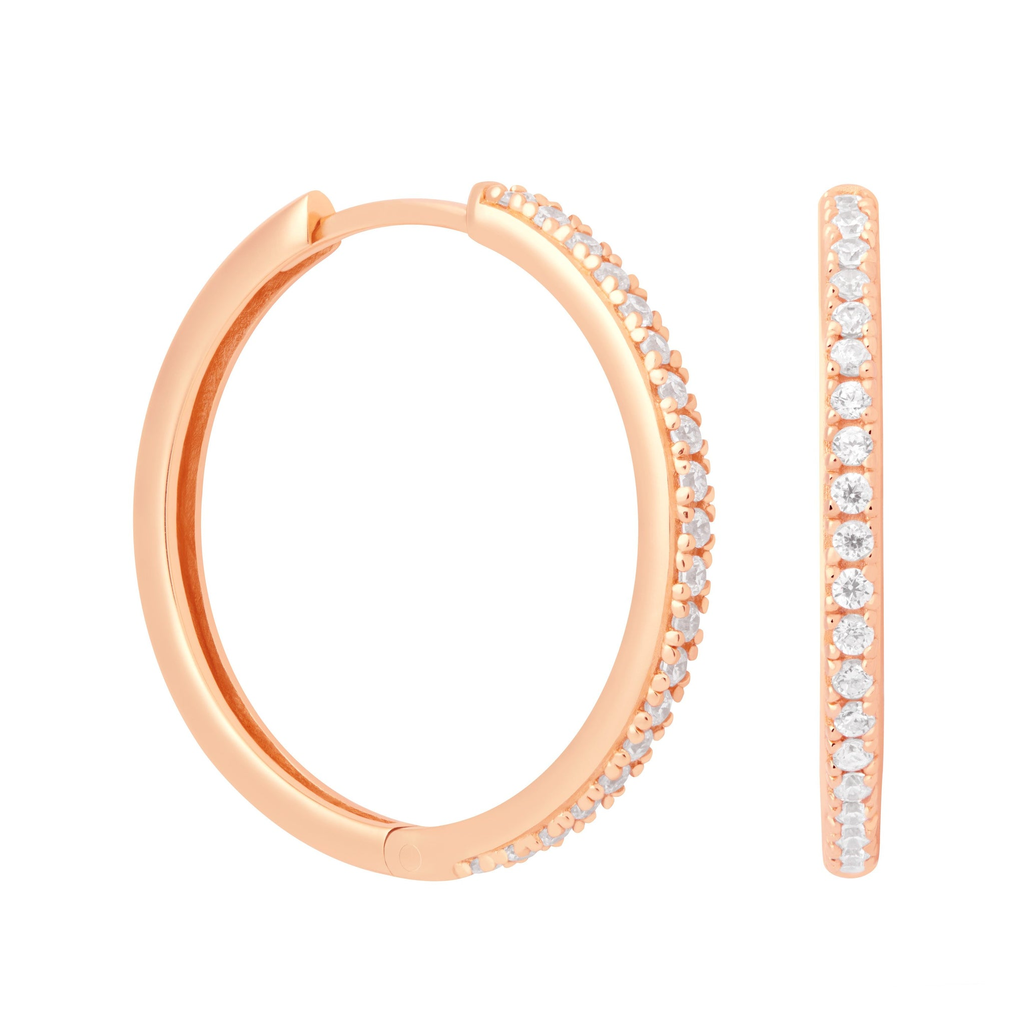 Crystal Hinge Hoops in Rose Gold