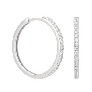 Crystal Hinge Hoops in Silver