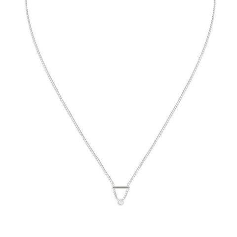 Diamond Bar Necklace in Silver