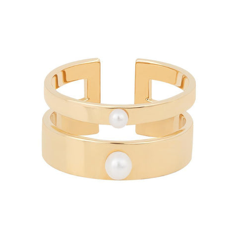 Pearl Double Band Ring in Gold
