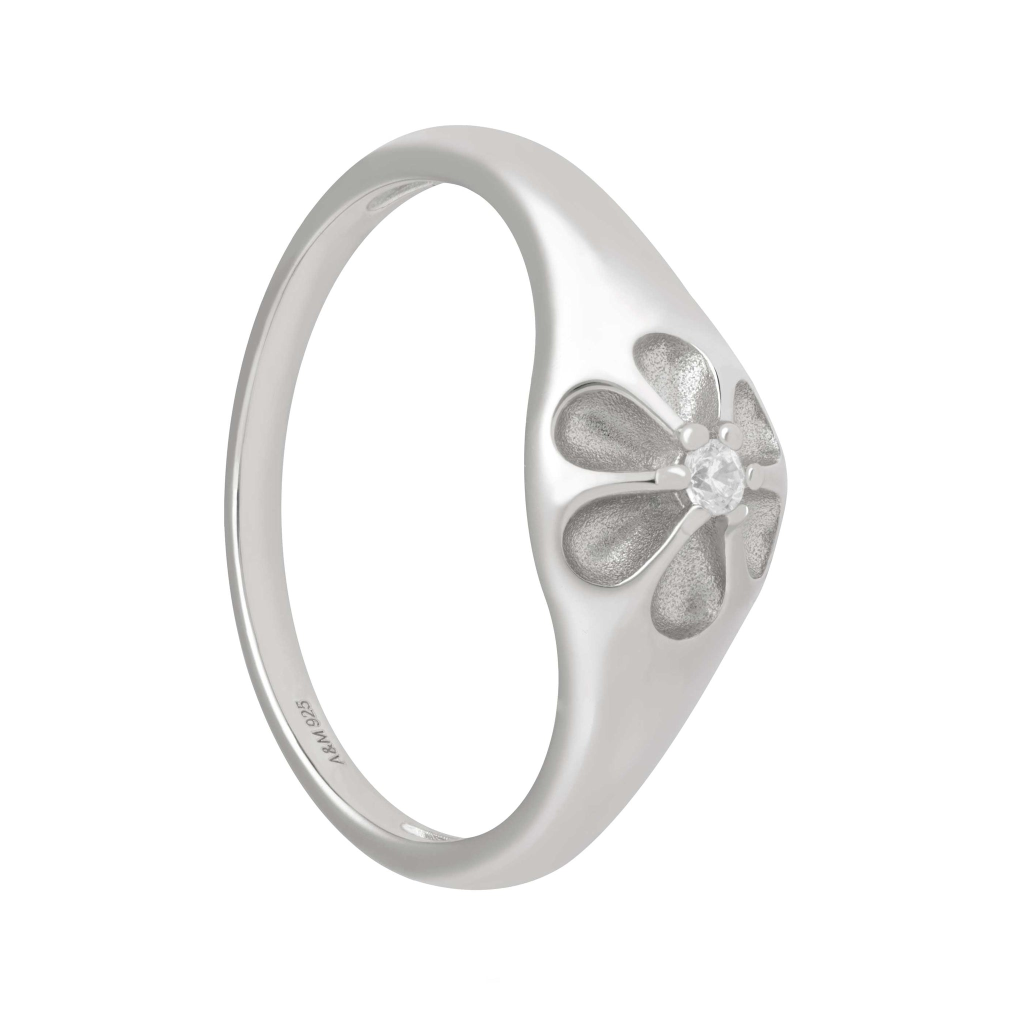 Flora Signet Ring in Silver