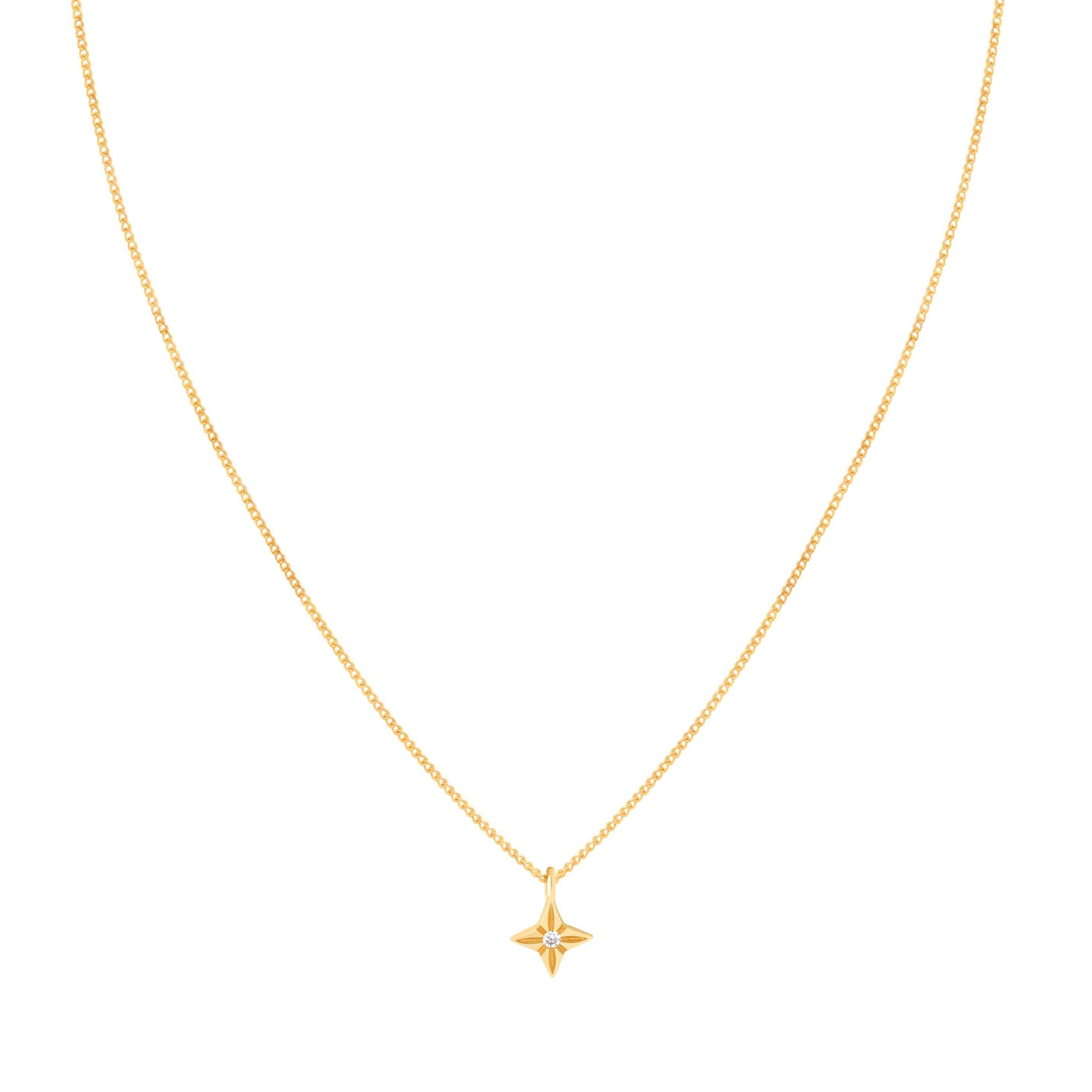 Etched Star Pendant Necklace in Gold
