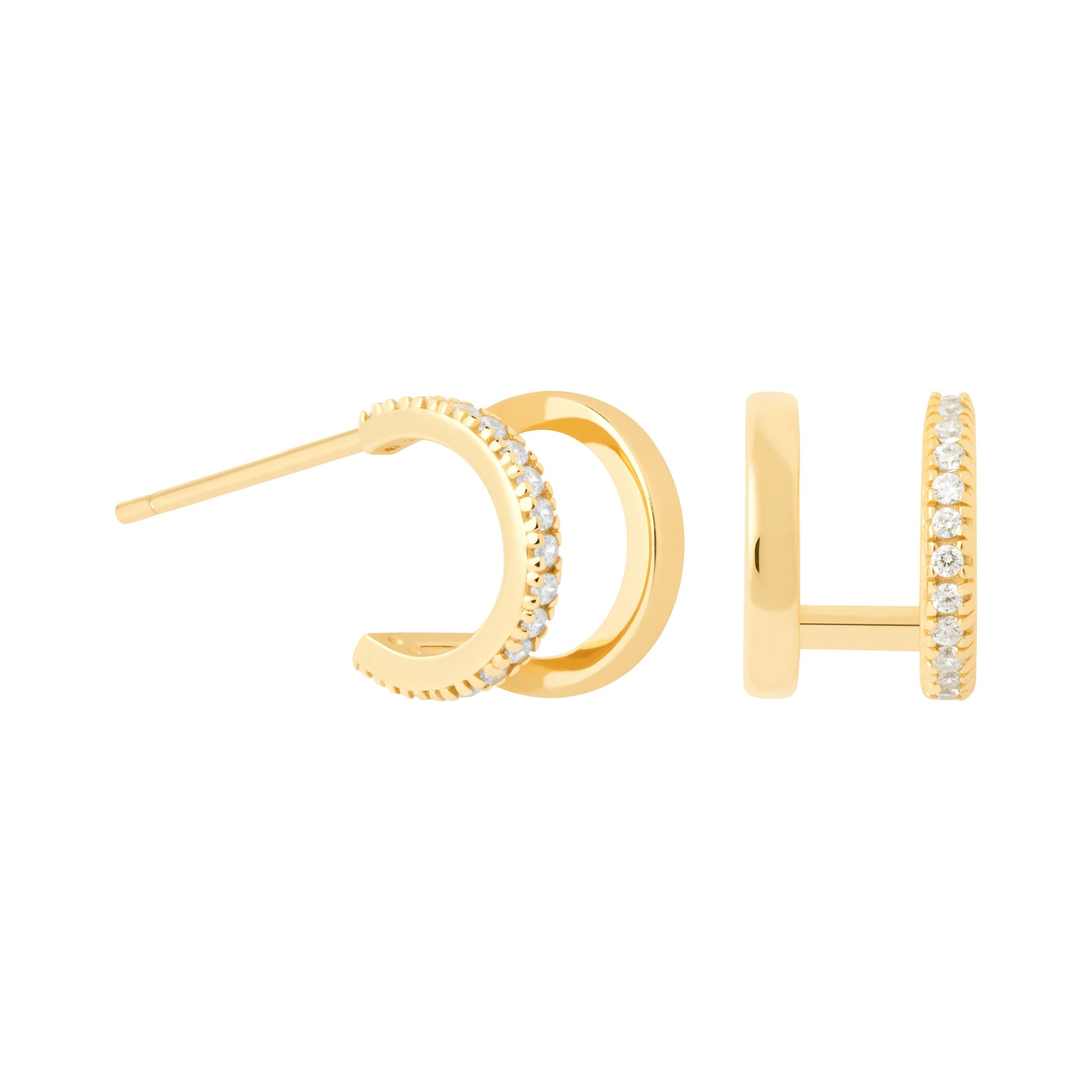 Illusion Stud Earrings in Gold