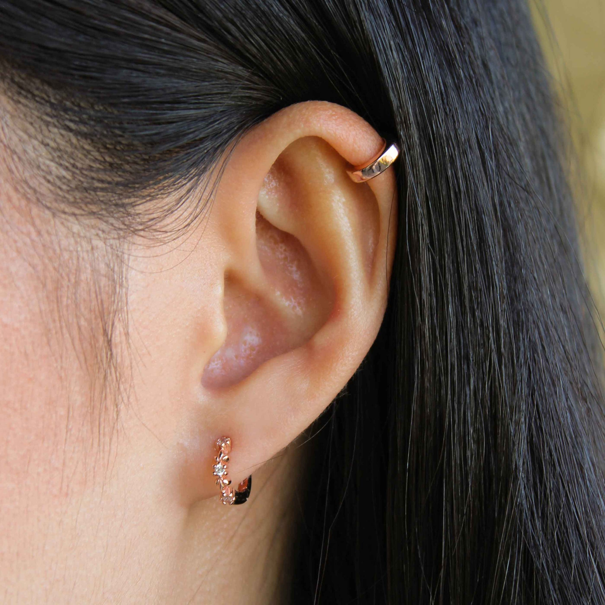 Mini Simple Wishbone Ear Cuff in Rose Gold worn shot