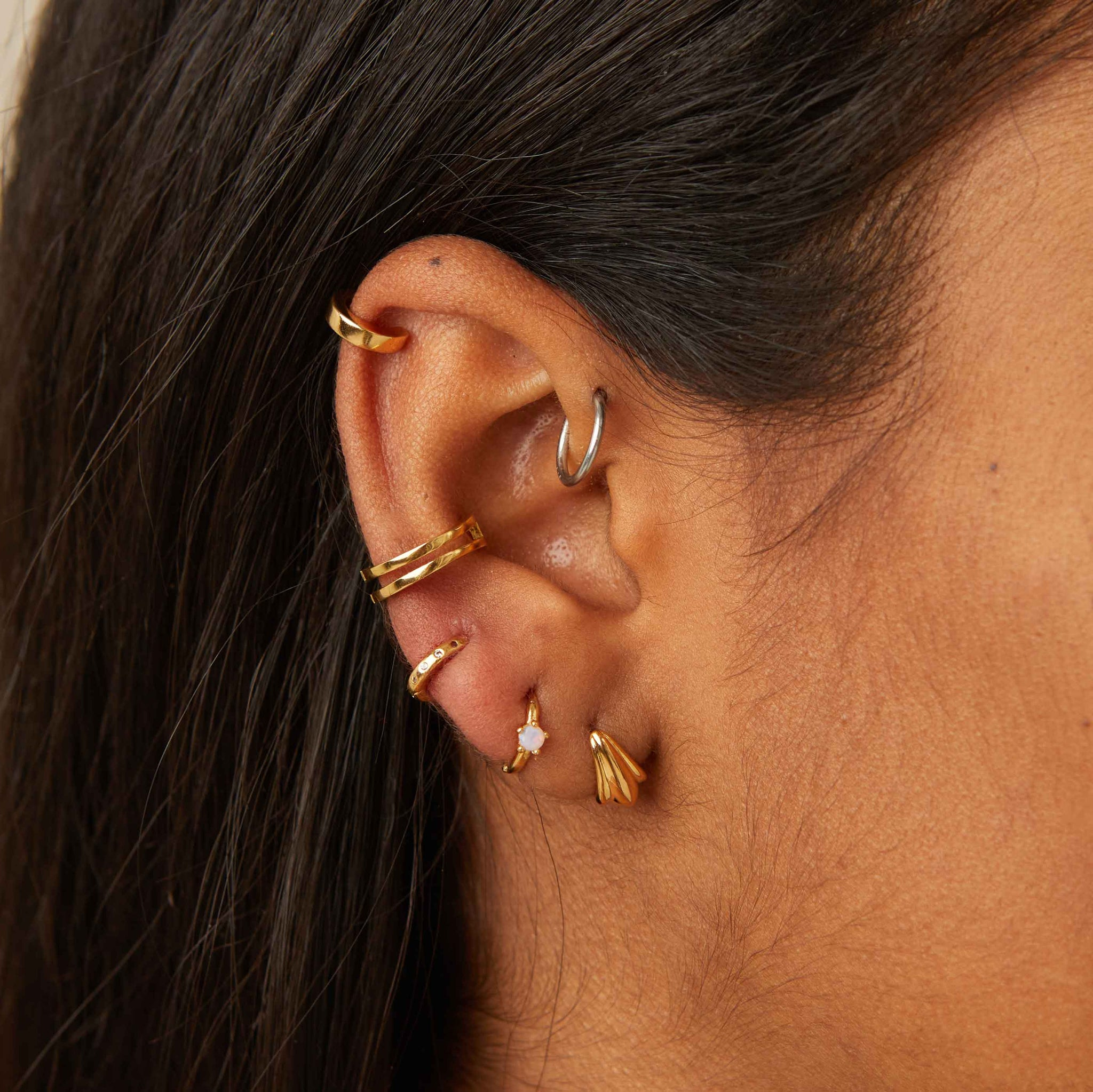 Simple Wishbone Ear Cuff in Gold