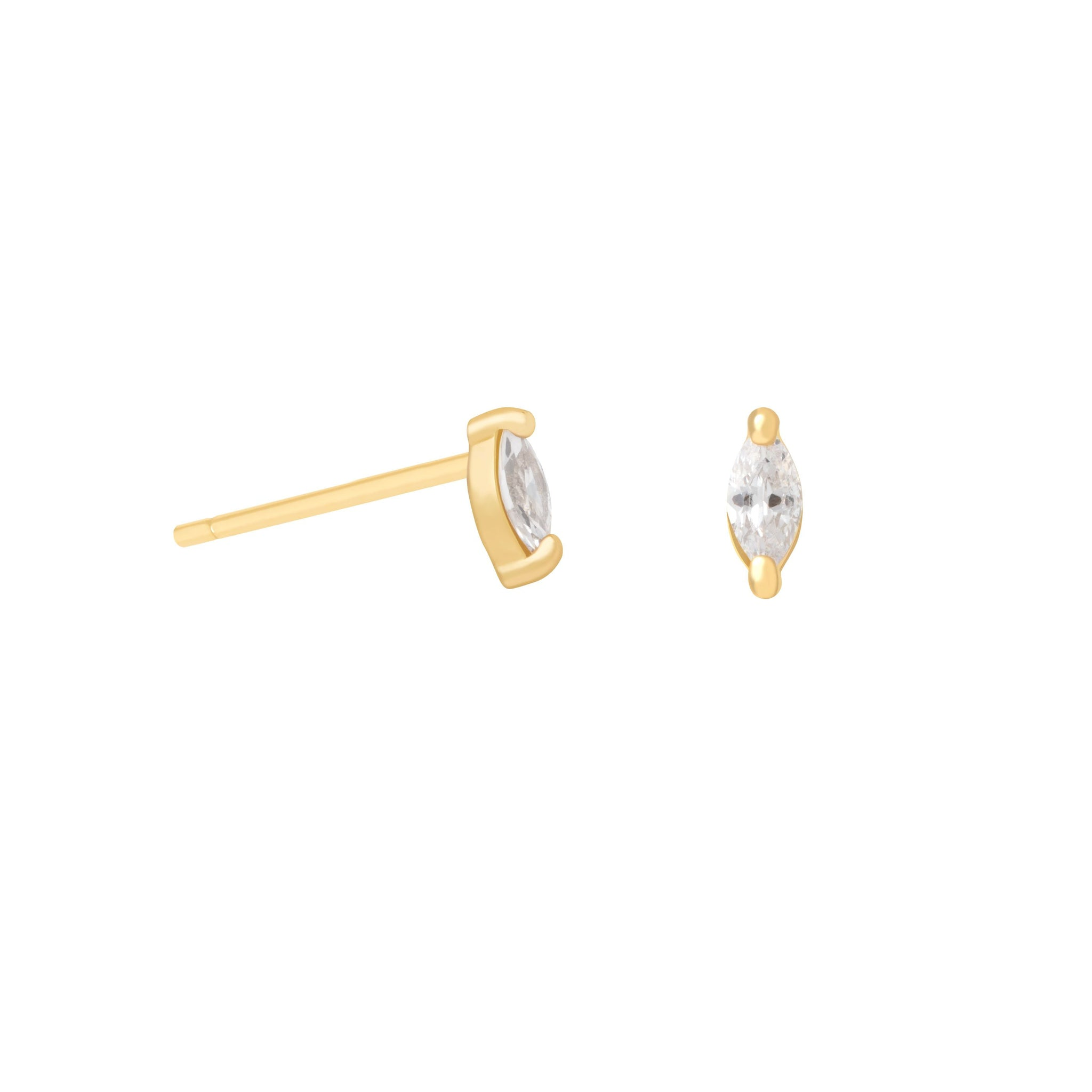 Navette Stud Earrings in Gold