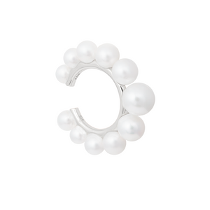 Pearl Statement Ear Cuff in Silver