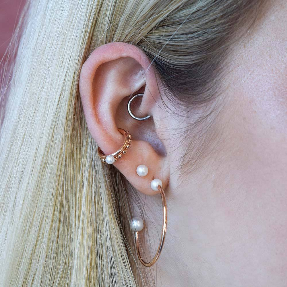 Pearl Hoop Earrings in Rose Gold