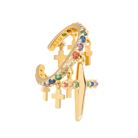 Rainbow Cross Ear Cuff in Gold