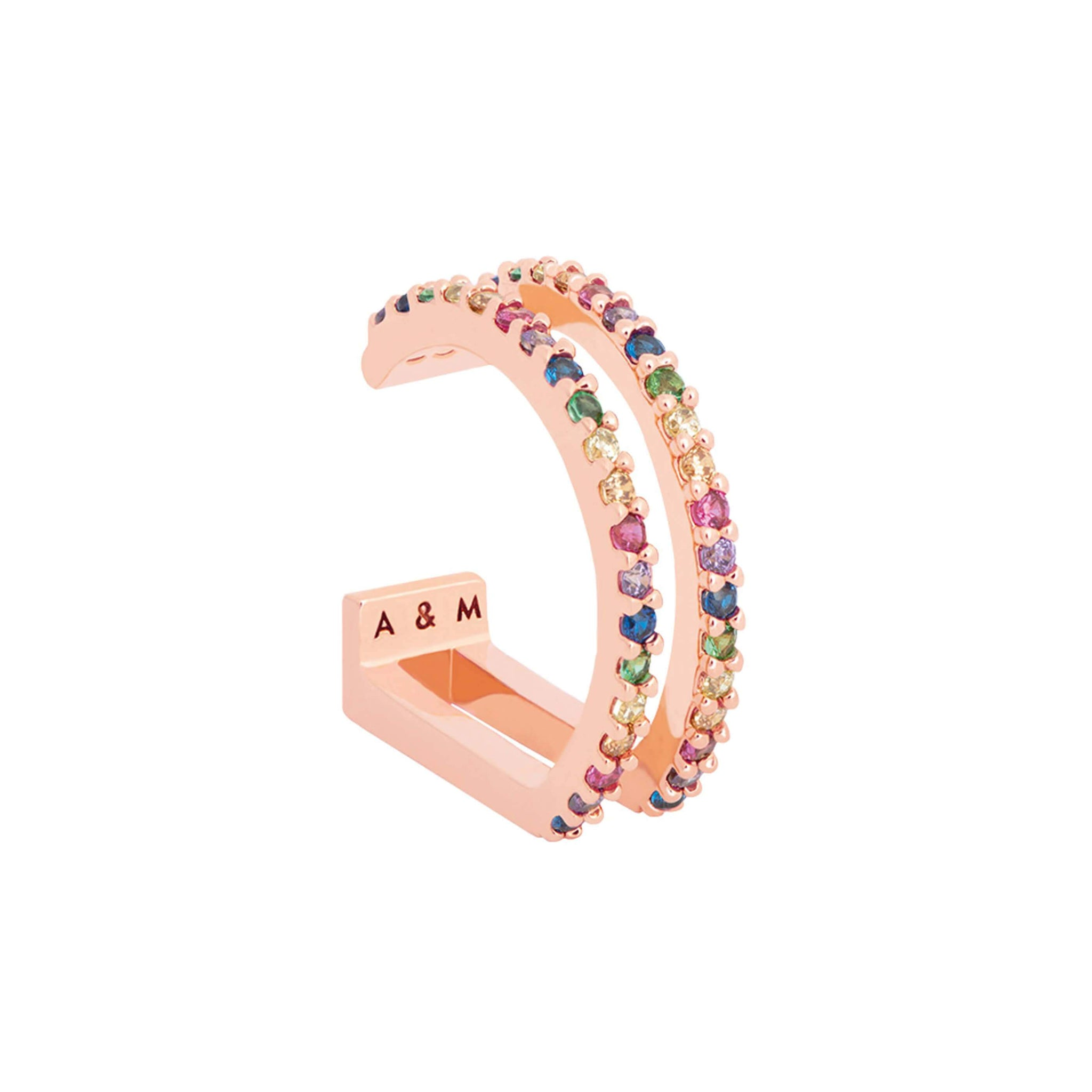 Rainbow Wishbone Ear Cuff in Rose Gold