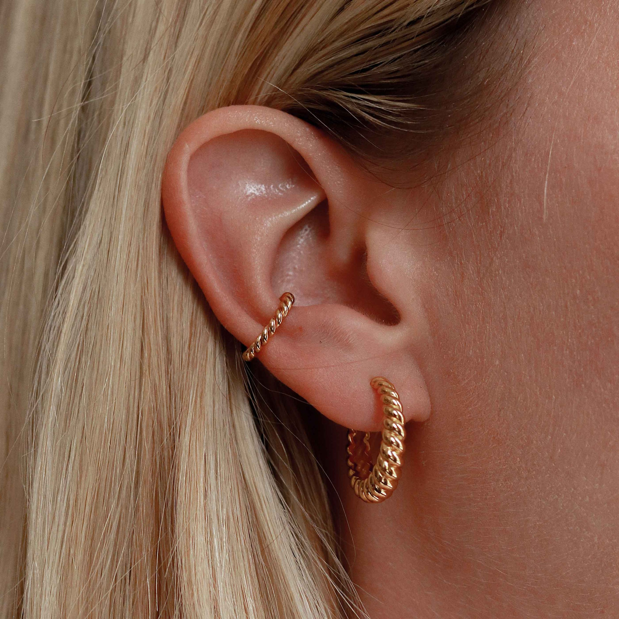 Rope Ear Cuff in Gold worn with rope hoops