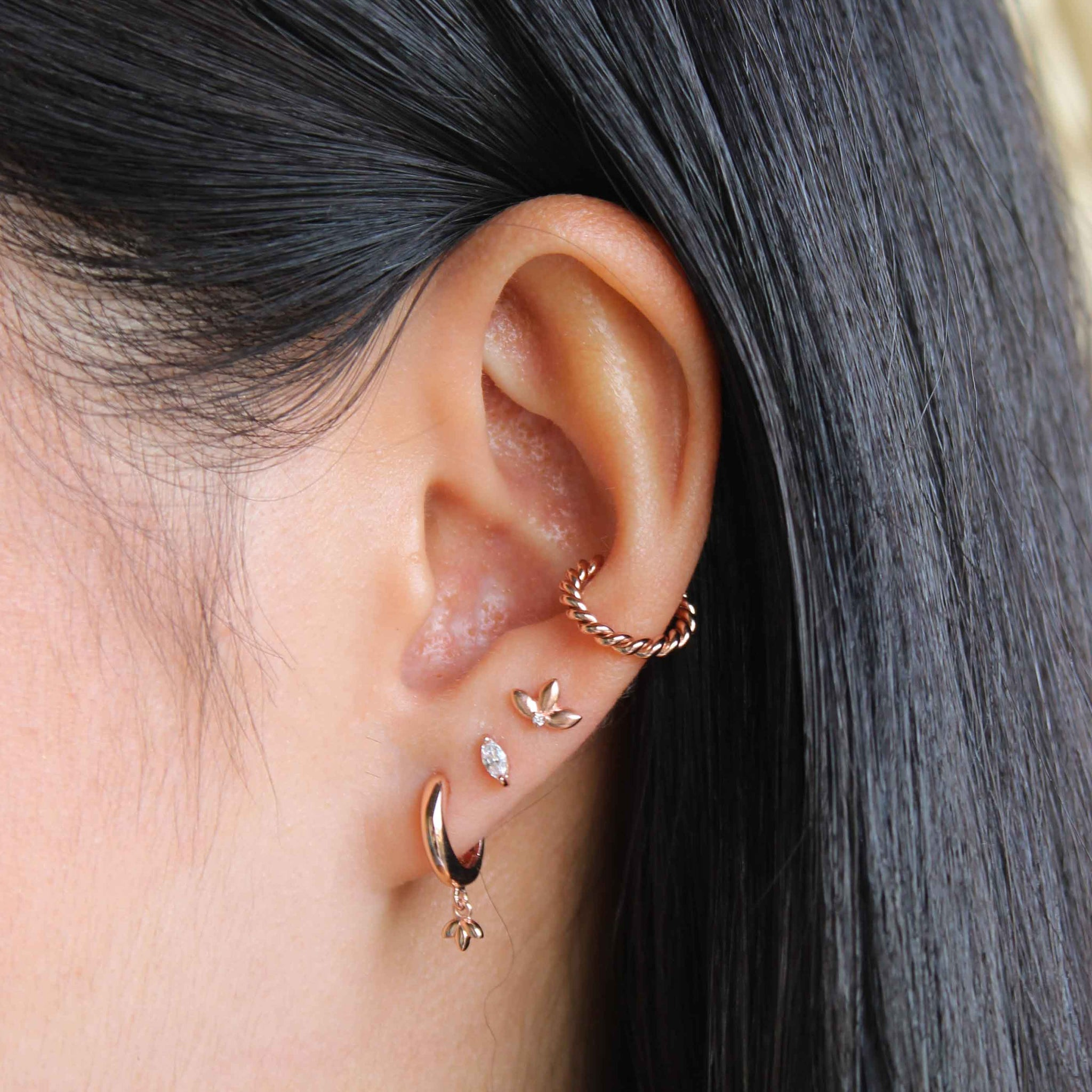 Rope Ear Cuff in Rose Gold worn with hoops and barbells
