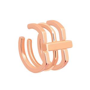 Rose gold crossing lines ear cuff stack