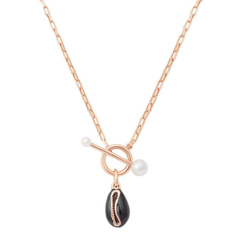 Shell Toggle Necklace in Rose Gold