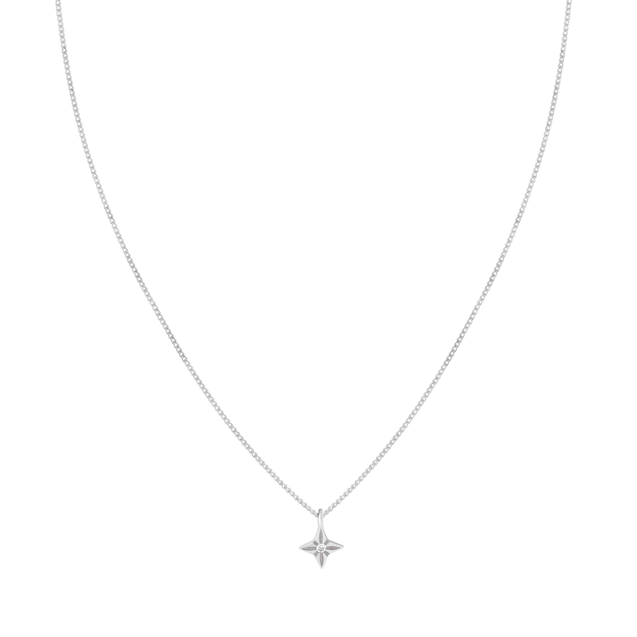 Etched Star Pendant Necklace in Silver