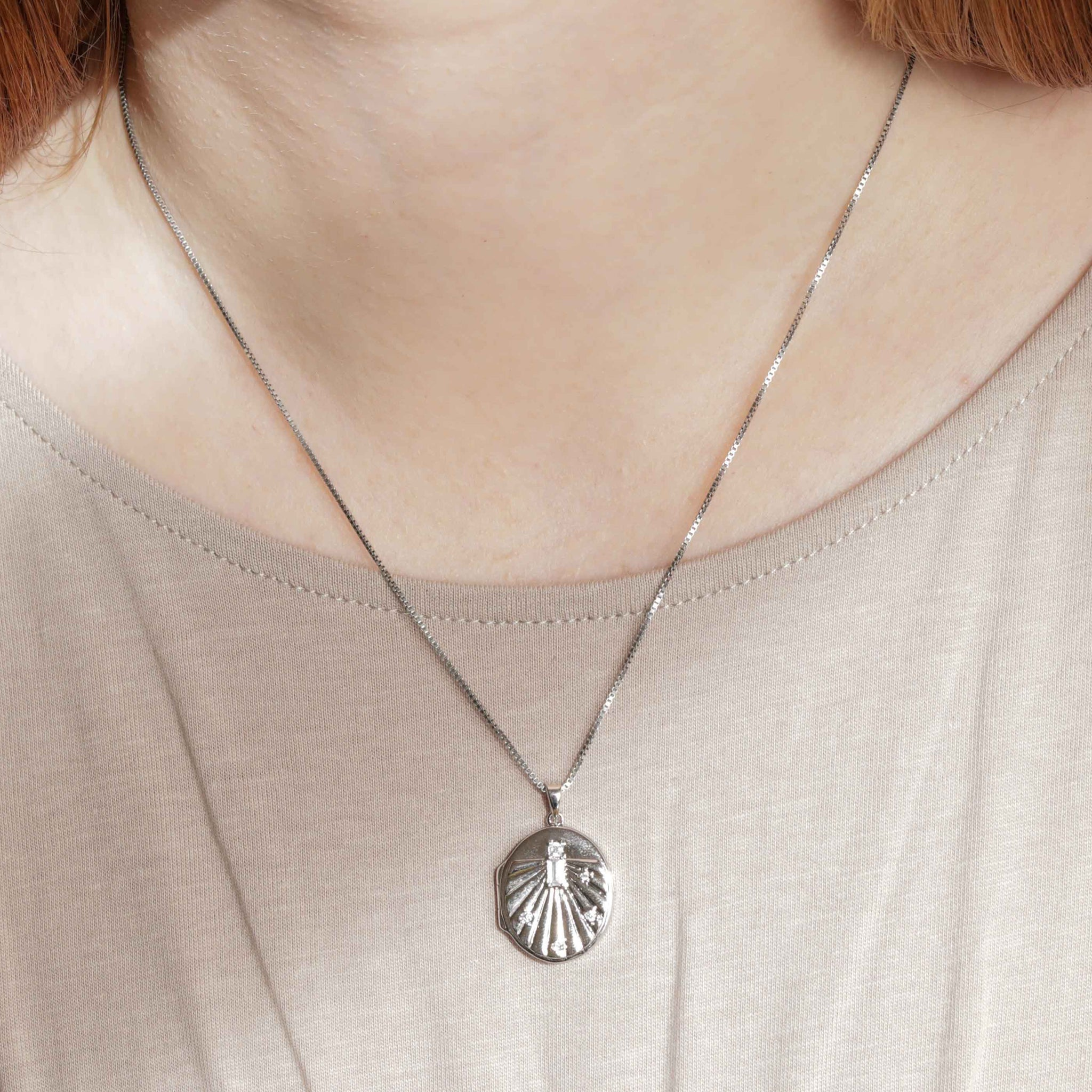 Solstice Locket Pendant Necklace in Silver