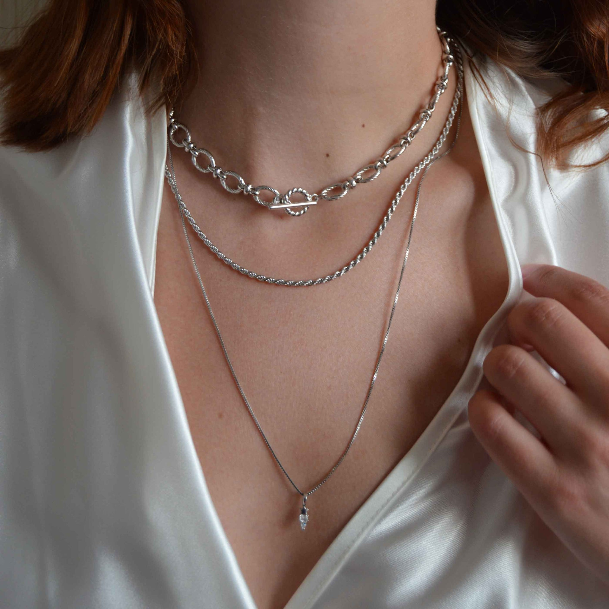 Fine Box Chain 55cm in Silver worn with chunky chain necklaces