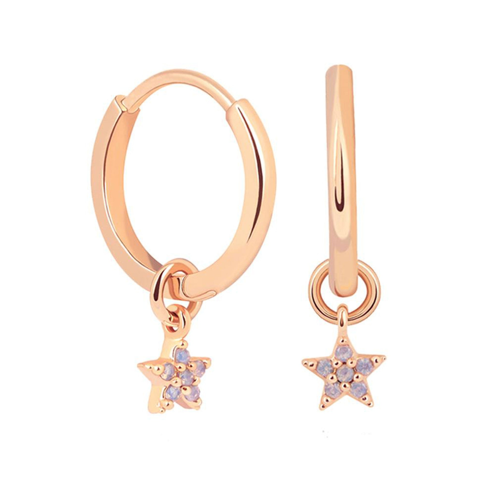 Mystic Star Pendant Hoop Earrings in Rose Gold