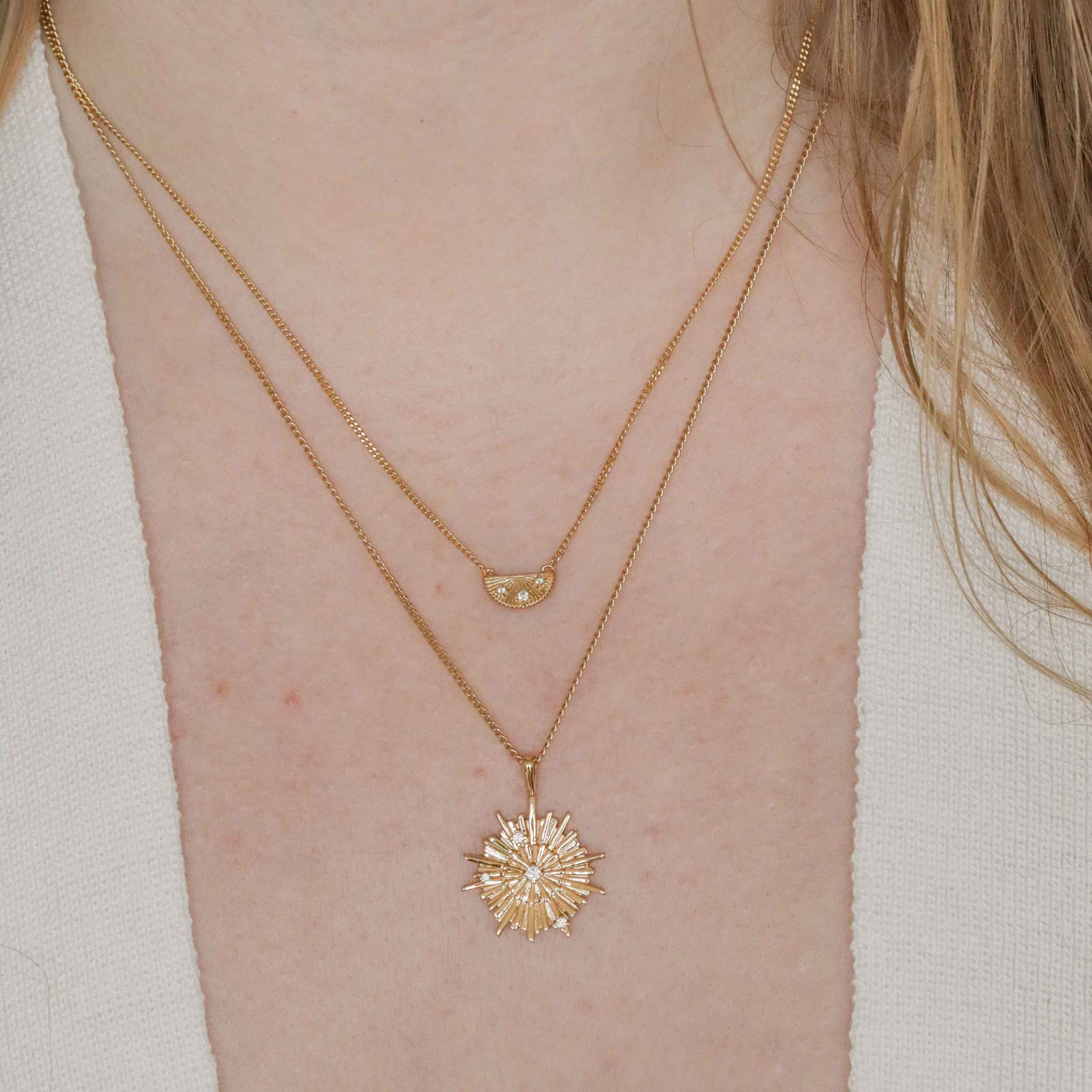 Supernova Pendant Necklace in Gold