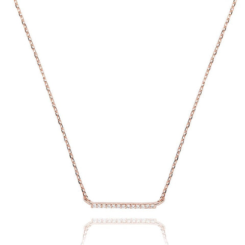 Small Bar Necklace in Rose Gold