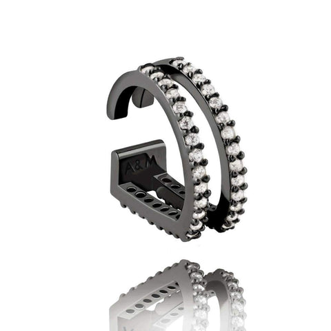 Gunmetal plated brass, diamanté encrusted ear cuff with two curved bars